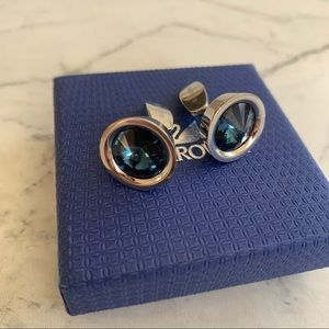 Swarovski cufflinks silver with blue stone